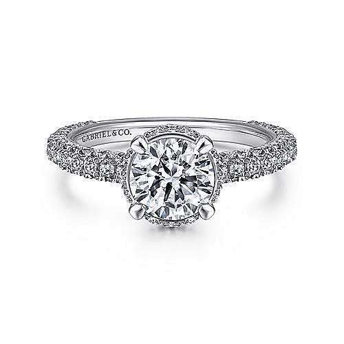 Gabriel - Dauphine 14k White Gold Round Straight Engagement Ring