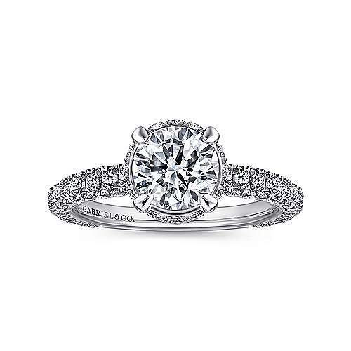 Dauphine 14k White Gold Round Straight Engagement Ring angle 5