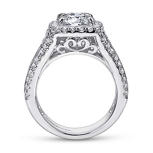 Dawn 18k White Gold Round Halo Engagement Ring angle 2