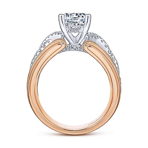 Dean 14k White And Rose Gold Round Twisted Engagement Ring angle 2