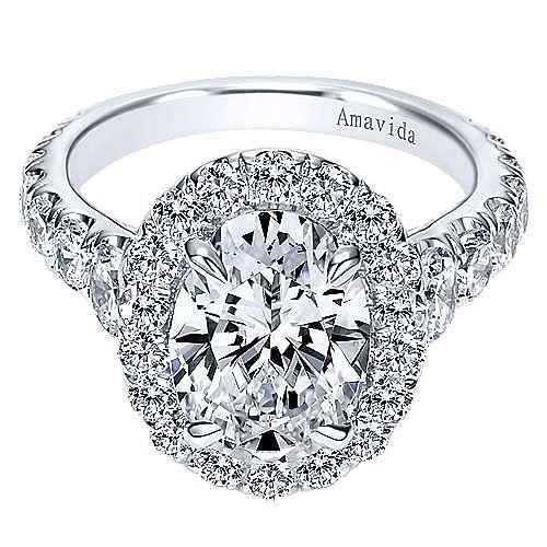 Deborah 18k White Gold Oval Halo Engagement Ring angle 1
