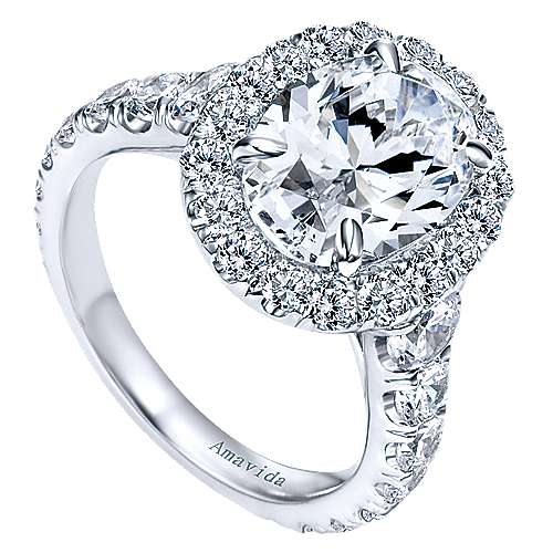 Deborah 18k White Gold Oval Halo Engagement Ring angle 3