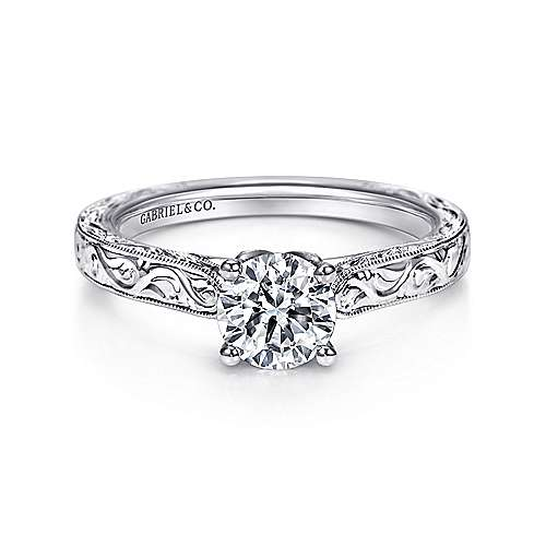 Gabriel - Dede 14k White Gold Round Straight Engagement Ring