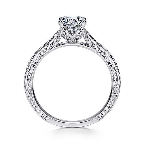 Dede 14k White Gold Round Straight Engagement Ring angle 2