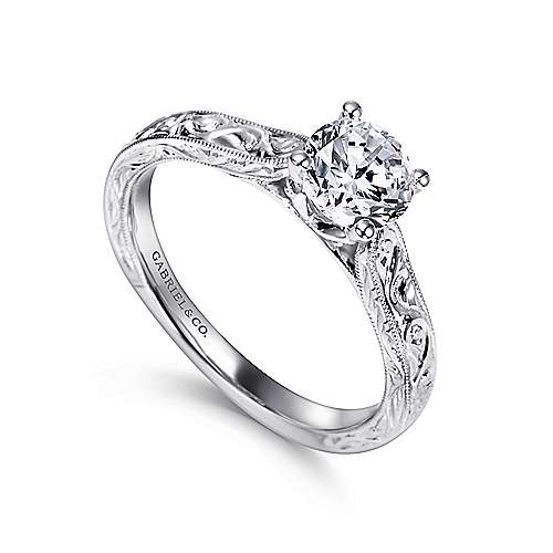 Dede 14k White Gold Round Straight Engagement Ring angle 3