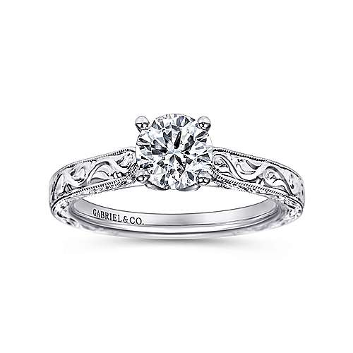 Dede 14k White Gold Round Straight Engagement Ring angle 5
