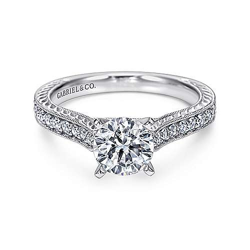 Dee 14k White Gold Round Straight Engagement Ring angle 1