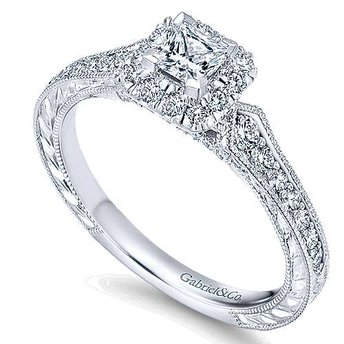 Delancey 14k White Gold Princess Cut Halo Engagement Ring angle 3