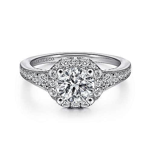 Gabriel - Delaney 14k White Gold Round Halo Engagement Ring