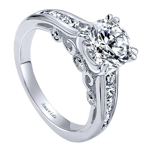 Delia 18k White Gold Round Straight Engagement Ring angle 3