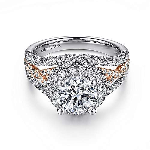 Gabriel - Delicacy 18k White And Rose Gold Round Halo Engagement Ring