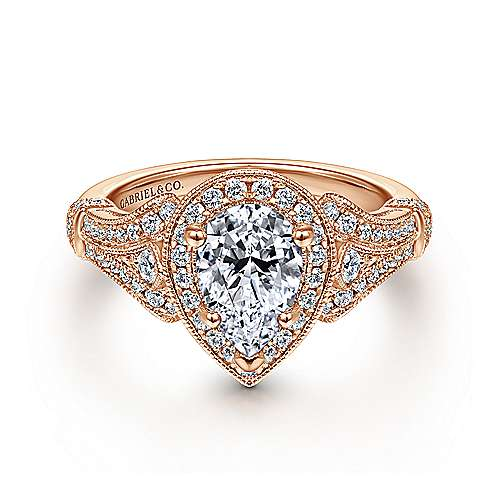 Gabriel - Delilah 14k Rose Gold Pear Shape Halo Engagement Ring
