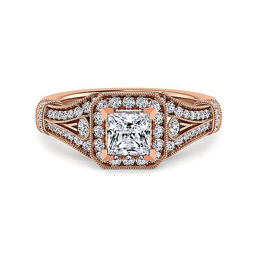 Gabriel - Delilah 14k Rose Gold Princess Cut Halo Engagement Ring