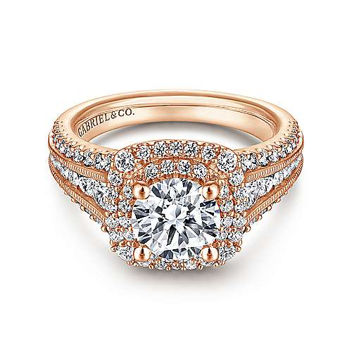 Delilah 14k Rose Gold Round Double Halo Engagement Ring angle 1