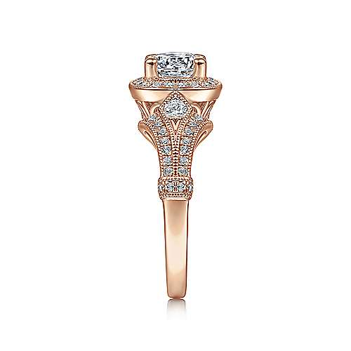 Delilah 14k Rose Gold Round Halo Engagement Ring angle 5