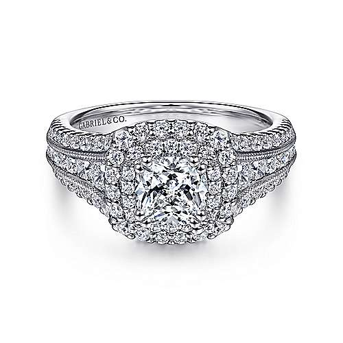 Gabriel - Delilah 14k White Gold Cushion Cut Double Halo Engagement Ring