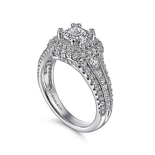 Delilah 14k White Gold Cushion Cut Double Halo Engagement Ring angle 3