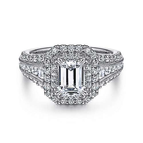 Gabriel - Delilah 14k White Gold Emerald Cut Double Halo Engagement Ring