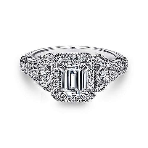 Gabriel - Delilah 14k White Gold Emerald Cut Halo Engagement Ring