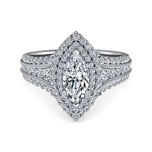 Gabriel - Delilah 14k White Gold Marquise  Double Halo Engagement Ring
