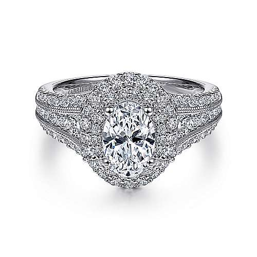 Gabriel - Delilah 14k White Gold Oval Double Halo Engagement Ring