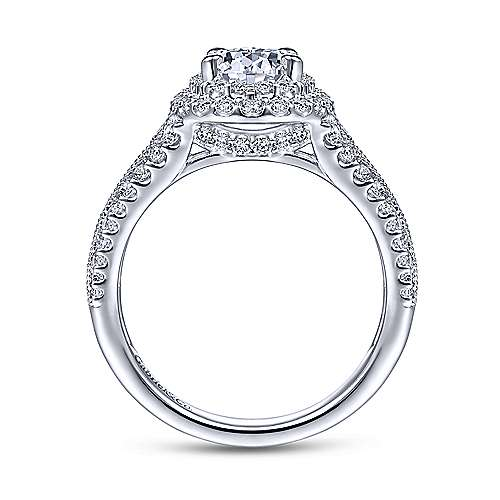 Delilah 14k White Gold Oval Double Halo Engagement Ring angle 2
