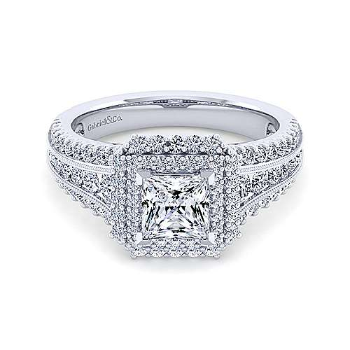 Gabriel - Delilah 14k White Gold Princess Cut Double Halo Engagement Ring