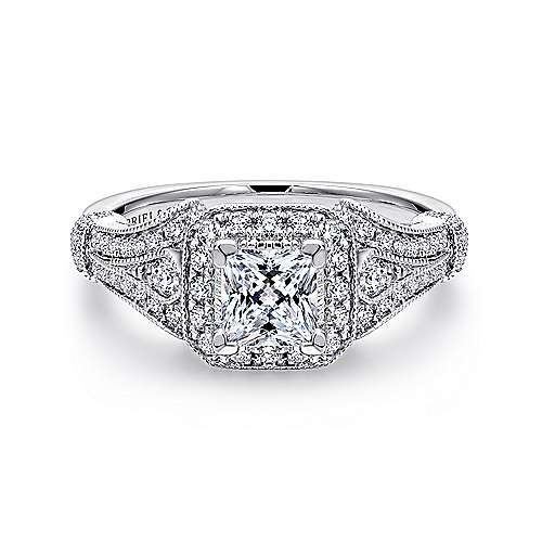 Delilah 14k White Gold Princess Cut Halo Engagement Ring angle 1