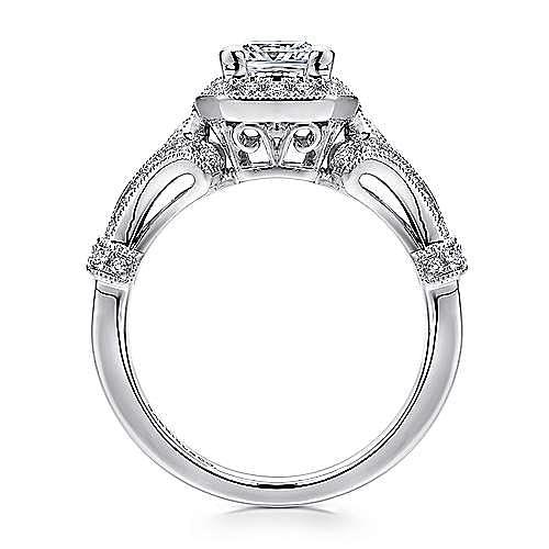Delilah 14k White Gold Princess Cut Halo Engagement Ring angle 2