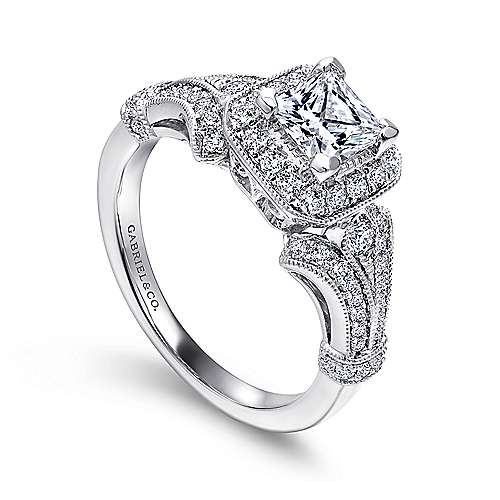 Delilah 14k White Gold Princess Cut Halo Engagement Ring angle 3