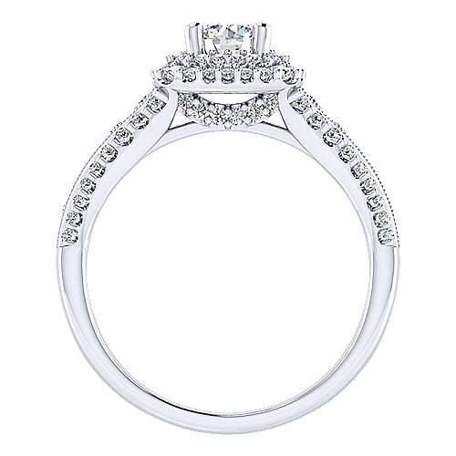 Delilah 14k White Gold Round Double Halo Engagement Ring angle 2