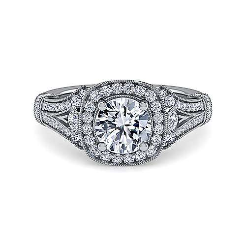 Gabriel - Delilah 14k White Gold Round Halo Engagement Ring