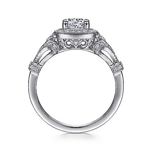 Delilah 14k White Gold Round Halo Engagement Ring angle 2