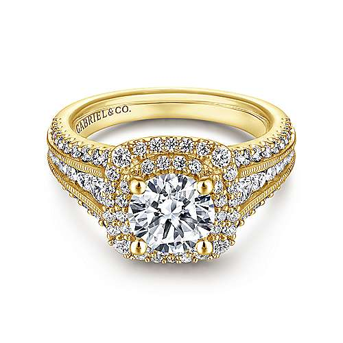 Gabriel - Delilah 14k Yellow Gold Round Double Halo Engagement Ring