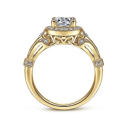 Delilah 14k Yellow Gold Round Halo Engagement Ring angle 2