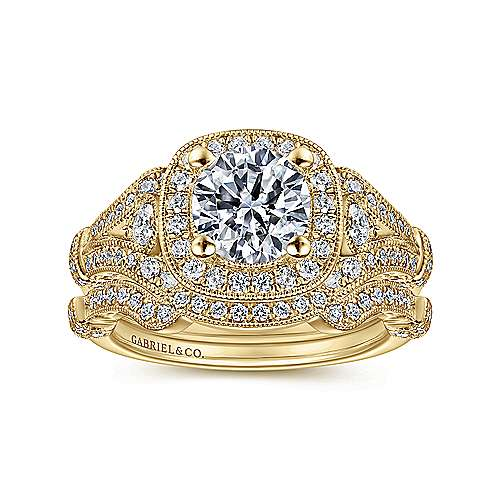Delilah 14k Yellow Gold Round Halo Engagement Ring angle 4
