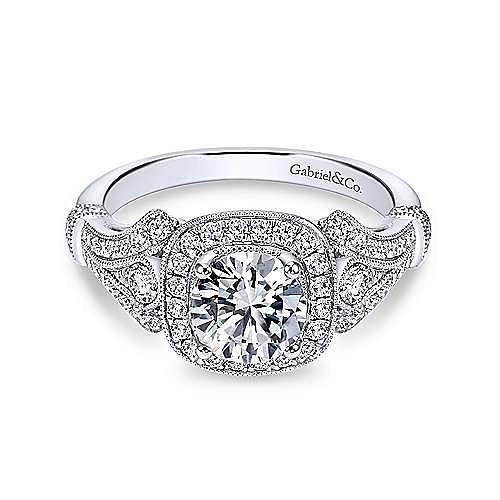 Gabriel - Delilah 18k White Gold Round Halo Engagement Ring