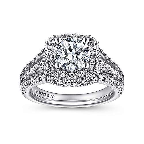 Delilah Platinum Round Double Halo Engagement Ring angle 5