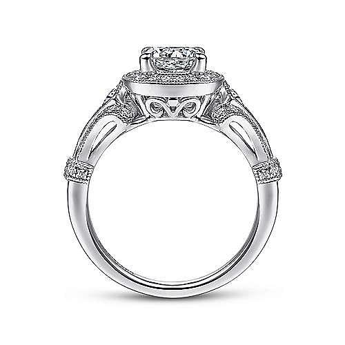 Delilah Platinum Round Halo Engagement Ring angle 2