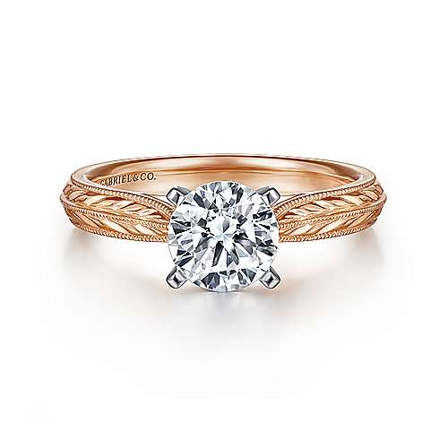 Della 14k White And Rose Gold Round Solitaire Engagement Ring