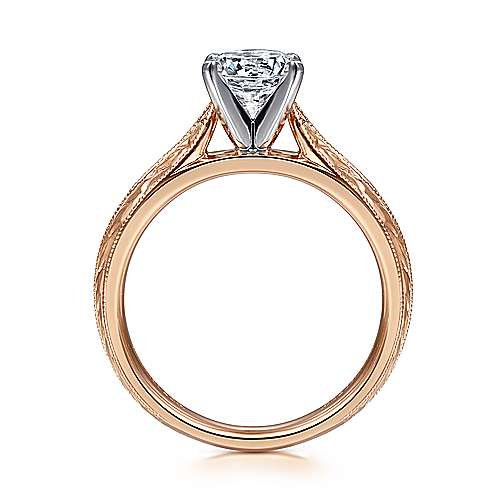 Della 14k White And Rose Gold Round Straight Engagement Ring angle 2