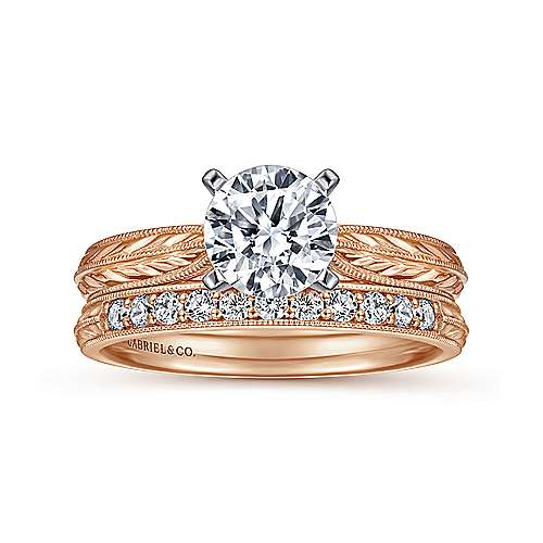 Della 14k White And Rose Gold Round Straight Engagement Ring angle 4