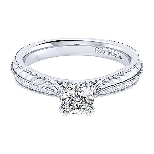 Gabriel - Della 14k White Gold Cushion Cut Straight Engagement Ring