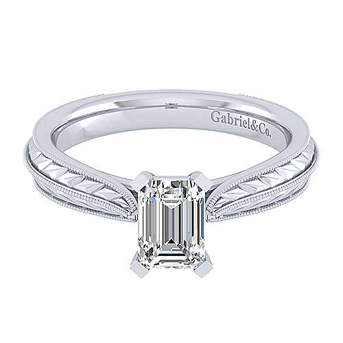 Della 14k White Gold Emerald Cut Solitaire Engagement Ring