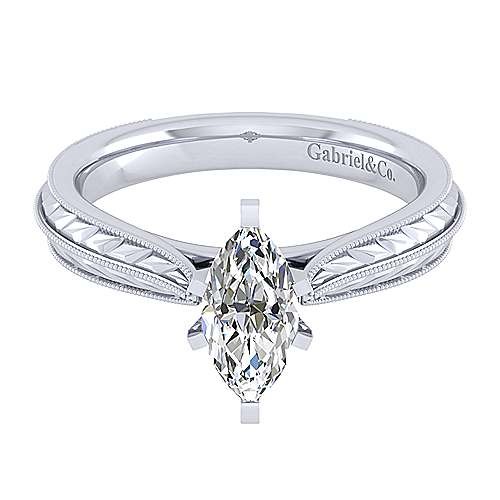Gabriel - Della 14k White Gold Marquise  Straight Engagement Ring