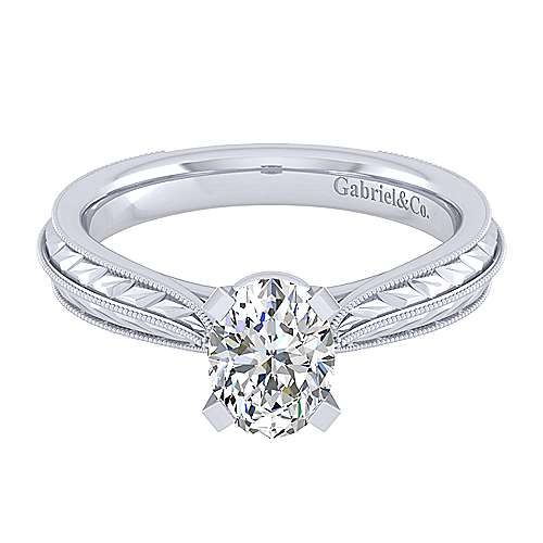 Gabriel - Della 14k White Gold Oval Straight Engagement Ring