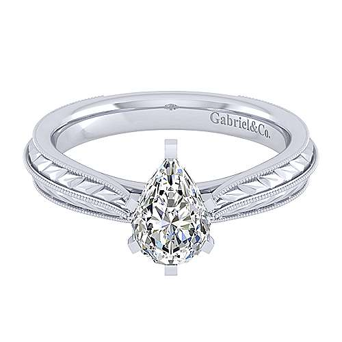 Gabriel - Della 14k White Gold Pear Shape Straight Engagement Ring
