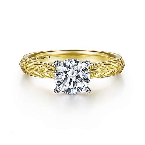 Gabriel - Della 14k Yellow And White Gold Round Straight Engagement Ring