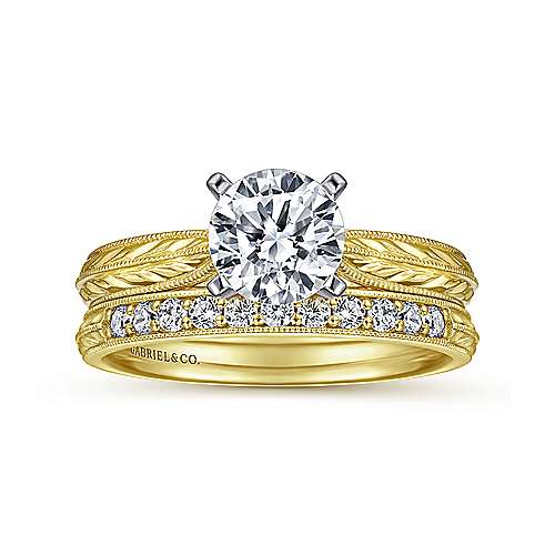 Della 14k Yellow And White Gold Round Straight Engagement Ring angle 4