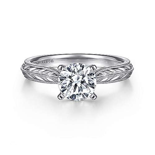 Della Platinum Round Straight Engagement Ring angle 1